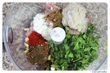 Meat with spices, yoghurt, coriander and onion paste