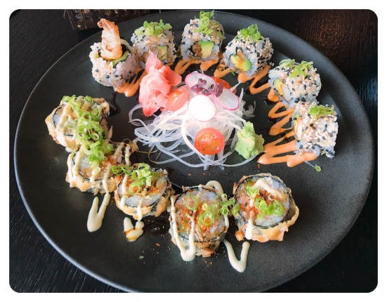 Shrimp rolls salmon Gunkan Zengo Kempinski Residences Suites